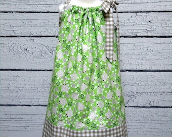 Girls Pillowcase Dress Green Polka Dot Roses Gingham - Size 6-12 month, 12-18 month, 18 - 24 month, 2 / 3, 4 / 5, 6 / 7, 8 / 9