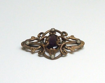 Victorian Purple Amethyst And Pearl Art Nouveau Brass EIF & Co. Brooch - Downton Abbey - Victorian - Edwardian - Art Nouveau - Steampunk