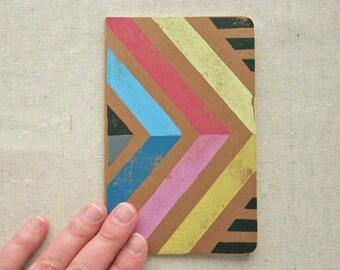JOURNAL - CMYK Chevron pocket-sized sketchbook linocut