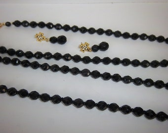 Vintage Black Bead Necklaces (set of 2) and Drop Earrings, Crystals or Jet Beads