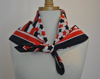 Vintage Scarf Red White Blue Stars Classic