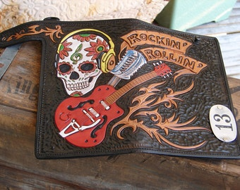 hand-tooled leather biker style wallet rock n roll gretsch guitar rippin sugar skull lucky 13 custom made