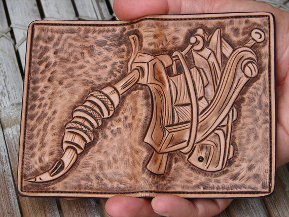 Tattoo machine hand carved leather wallet business cards