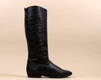 1980s Gorgeous Textured LEATHER Riding Boots / Equestrian Tall Bootie / Wms Sz. 6 / Euro 36