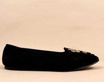80s Beautiful Vtg JOAN & DAVID Leather Suede Slip On Flats /Metallic Coin Detail /  Ballet Prep Mod / Sz 6.5 7  / Euro 36 37