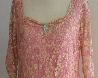 1920s Style French Lace and Silk Velvet Dress - Original Design from Lace Sparkle Vintage