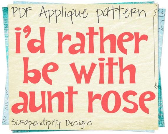 Aunt Applique Pattern - Uncle Applique Template / Rather Be Shirt / Baby Shower Clothing / Cute Kids Clothes / Aunt Tshirt / Uncle Shirt