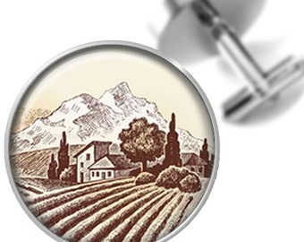 Cufflinks Wine Country Sepia Vineyard Handmade Cuff Links