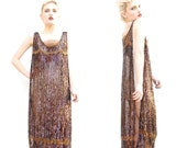 1920s sequin beaded flapper gatsby gown zeigfeld showgirl costume dress tabard 20s deco