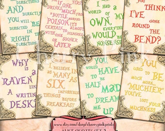 ALICE in WONDERLAND quotes, party printable decorations and supplies, digital collage sheet for your diy wonderland party