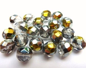 20 czech glass beads, 8mm, rainbow AB