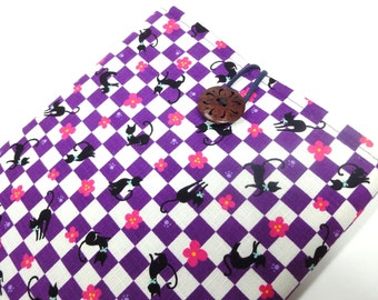 Kindle fire case,Kindle touch cover,Kindle sleeve,Nook,Kobo Padded Cover Sleeve Case Kimono pattern fabric Cat & footprint Purple
