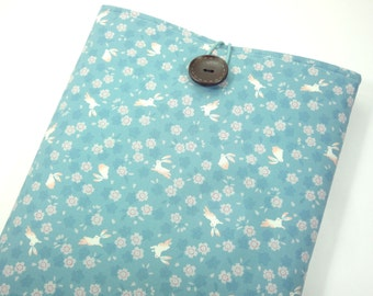Bunny Macbook Case, 11 inch Macbook Air Sleeves, Padded Macbook Case, Japanese Kimono Cotton Fabric Rabbits Cherry Blossoms Light Blue