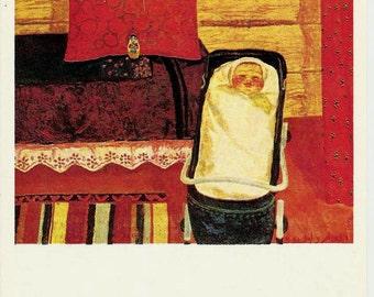 Baby-Lullaby, Vintage Russian Postcard, artist  Zaripov unused