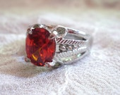 Unusual Red-Orange and Silver Tone Engagement Ring - Size 9
