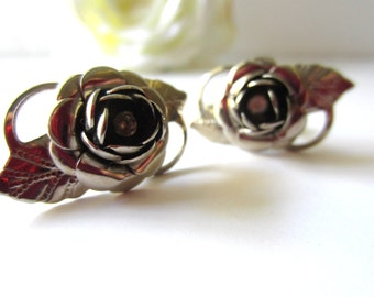 Beautiful Rose Screw Back Earrings