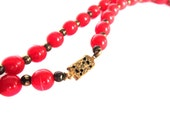 Vintage Red Flapper Style Beaded Long Necklace Dress Up Formal Jewelry