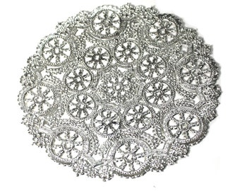 25 Silver 8 inch paper doilies, metallic doily, invitation trim, wedding decoration, party decoration, paper craft trim Free Shipping