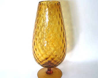 Vintage 15 inch Empoli Diamond Optic Vase in Amber Glass