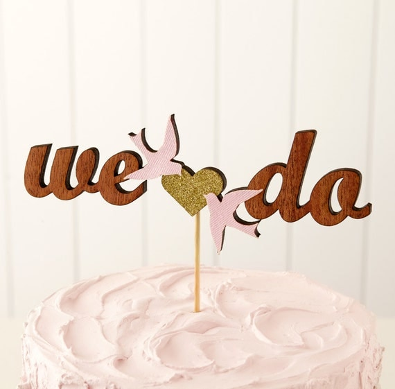 The Whimsical Wedding Cake Topper in Mahogany Light Pink Love Birds - Ready to ship