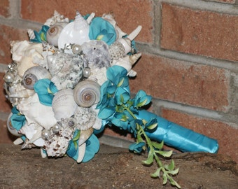 Blue Teal Cascading Seashell Bouquet