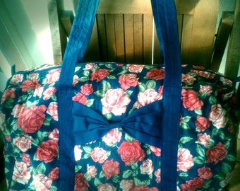 ADORABOW   ///    Blue Floral Duffel Tote Bag