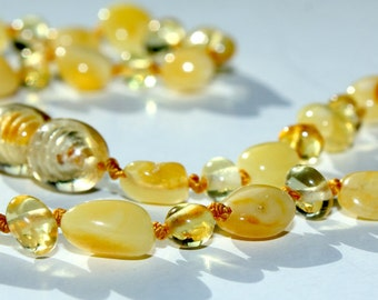 Baltic Amber Teething Necklace for  Baby Olive Form Beads