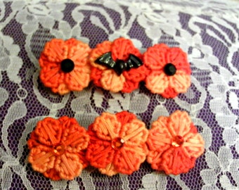 Shades Of Orange Flower Barrette (or bat center)