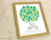 Wedding Fingerprint Guest Book - The Signature Bikewik - A Peachwik Personalized Art Print - 75 guest sign in - Balloons & Bike Guestbook