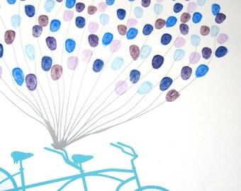 Fingerprint Guest Book - The Thumbprint Bikewik - A Peachwik Art Print - 150 guest sign in - Fingerprint Balloons & Bike Guestbook