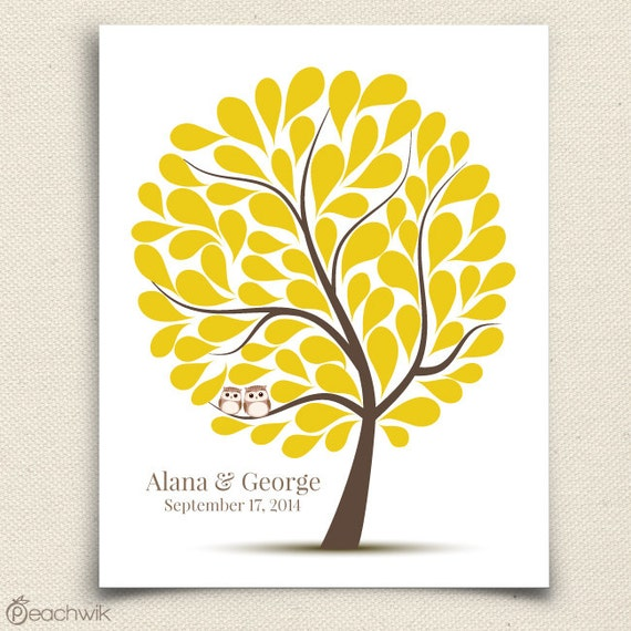 Wedding Owl Guest Book - The Hootwik - A Peachwik Personalized Art Print - 75 guest sign in - Companion Owls in a Tree