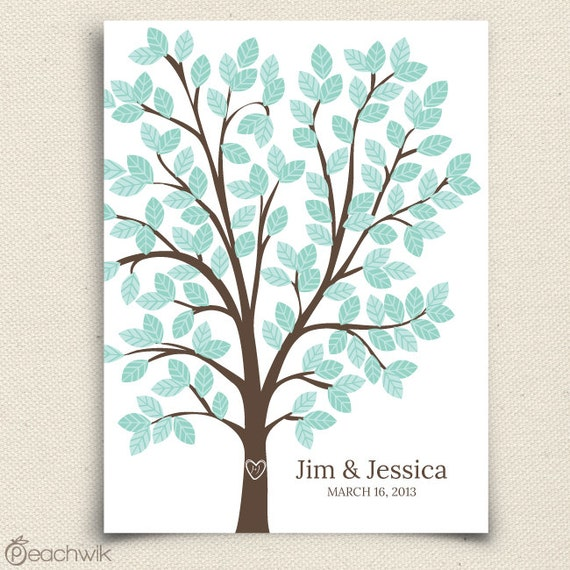 Wedding Guest Book Alternative - The Dreamwik - A Peachwik Interactive Art Print - 125 guest sign in - Chevron Pattern Wedding Dreams Tree