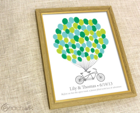 Wedding Fingerprint Guest Book - The Signature Bikewik - A Peachwik Personalized Art Print - 75 guest sign in - Balloons & Bike Guestbook