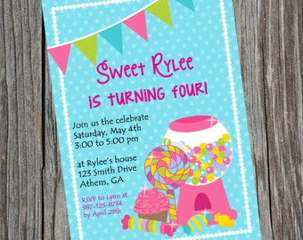 Candy Invitation.  Candy Party Invite. Candy Party Birthday Invitation.  Candy birthday invitation. Digital Invitation. Birthday Party.