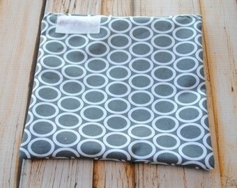 Reusable Snack Bag with zipper closure- Pewter Rings