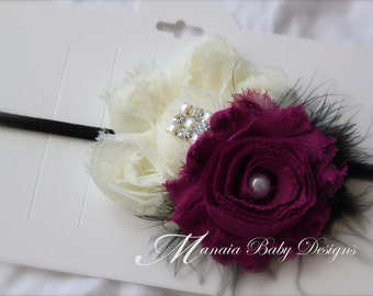 Plum and Ivory Headband