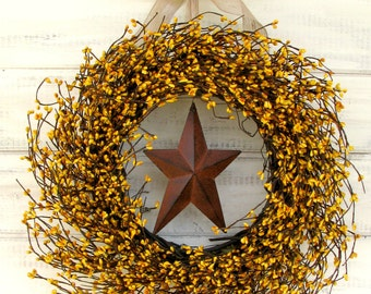 Fall Wreath-Fall Decor PRIMITIVE RUSTY STAR Wreath-Yellow Berry Wreath-Fall Door Wreath-Primitive Country Home Decor-Yellow Decor