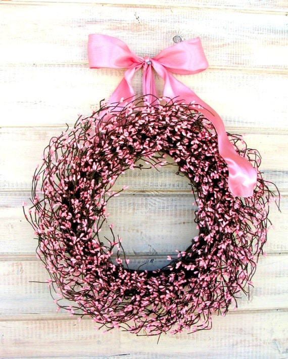 Breast Cancer Awareness Decor-Think Pink-PINK BERRY Door Wreath-Its a Girl Baby Shower Wreath-Baby Nursery-Pink Decor-Choose Ribbon & Scent