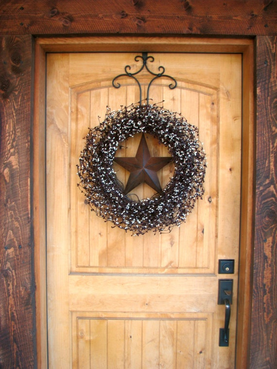 Fall Door Wreath-Fall Wreath-LARGE Door Wreath-Burgundy & Vanilla BARN STAR Wreath-Americana Wreath-Rustic Primitive Country Decor-Custom