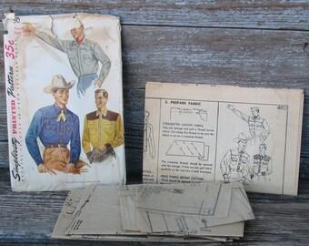 Vintage 1952  Mens Cowboy Shirt Sewing Pattern Simplicity 4150