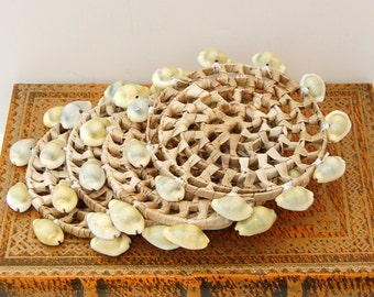 Rattan and Natural Shell Coasters Eco Friendly Organic Up cycled vintage Set of 4