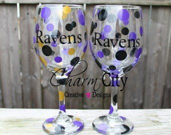 Baltimore Ravens Personalized Wine Glass Super Bowl NFL Sports Football Gifts