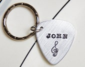 Custom Guitar Pick Keychain Personalized Name Music Lovers Gift Plectrum Gift for Him