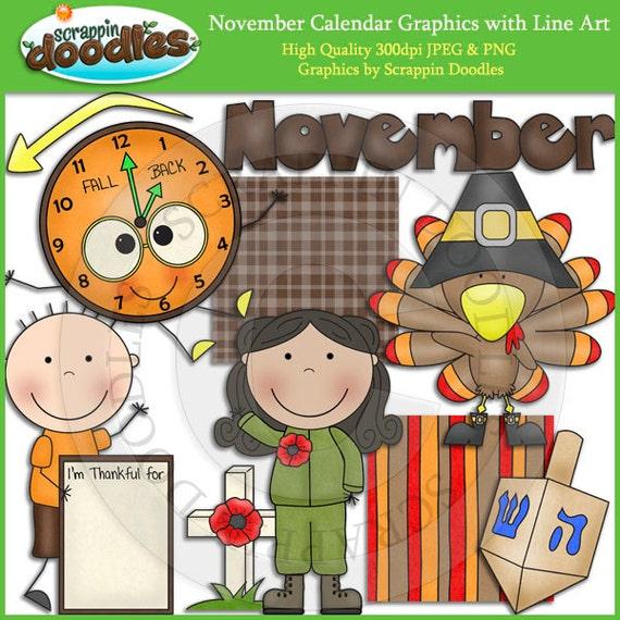 Thanksgiving Calendar Art : November calendar clip art with line download