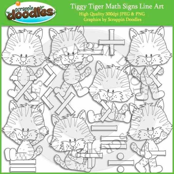 Line Art Math : Tiggy tiger math signs line art