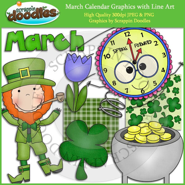 Calendar Clip Art March : March calendar clip art with line download