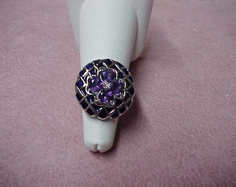 Vintage Set of African Amethyst Ring with Matching Earrings, 6.35 CTW, Sterling Silver, 13.40 Gram