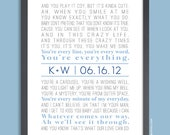 Monogram Initial 11x14 Custom Song Lyric Wall Print, in blue and grey or custom colors