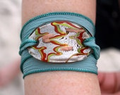 Holiday Sale 40 Percent Off - Pretty Light Gray Hand Dyed Silk Wrap Bracelet with Glass Pendant
