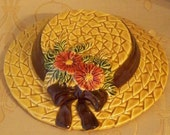 Lefton  Wall Pocket Straw Hat Golden Wheat With Daisies Wall Planter Original Sticker